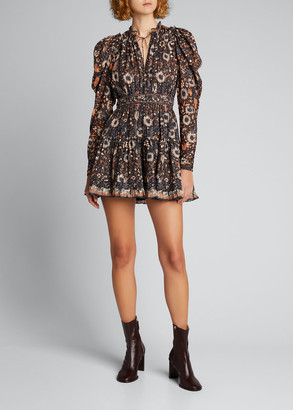 Ulla Johnson Willow Floral Long-Sleeve Short Dress