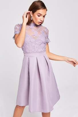 Little Mistress Paige Lavender Embroidered Skater Dress
