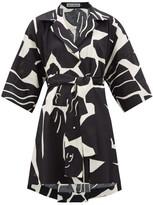 Issey Miyake Cuddle Printed Cotton-blend Short-sleeved Shirt - Womens - Black Multi