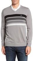Travis Mathew Men's Lemkey Striped V-Neck Sweater