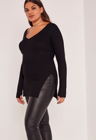 Missguided Black Plus Size Knit V-Neck Tunic