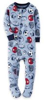 Carter's Zip-Front Sports Footed Pajama in Blue