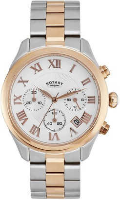 Rotary Womens Chronograph Quartz Watch with Stainless Steel Strap LB006/C/01
