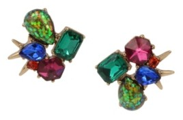 Betsey Johnson Stone Cluster Stud Mismatch Earrings