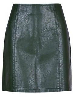 Dorothy Perkins Womens Khaki Seam Pu Mini Skirt, Khaki