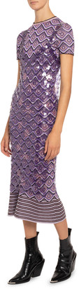Paco Rabanne Strappy Sequined V-Neck Overlay Dress