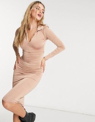 ASOS DESIGN long sleeve slinky zip front midi dress in beige