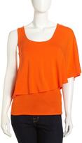 Laundry by Shelli Segal Asymmetric Double-Layer Top, Pop Orange