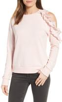 Halogen Ruffled Cold Shoulder Sweatshirt (Regular & Petite)