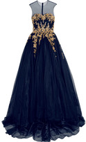 Reem Acra - Embellished Tulle Gown - Navy