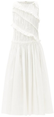 Aje Ruffled Linen-blend Midi Dress - White