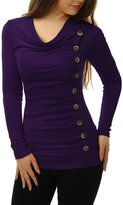 Allegra K Women Cowl Neck Long Sleeves Buttons Decor Ruched Top Light Grey XL