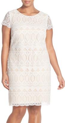 Eliza J Cap Sleeve Lace Shift Dress