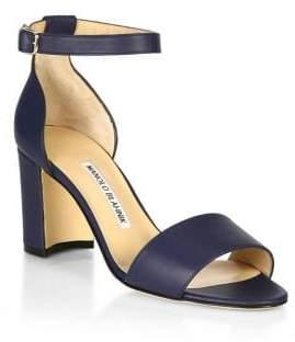 Manolo Blahnik Lauratomod Leather Sandals