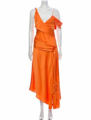 Jonathan Simkhai V-Neck Long Dress Orange