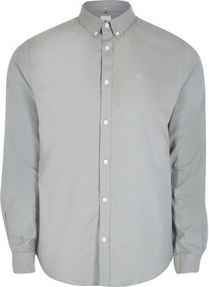 River Island Mens Khaki long sleeve slim fit Oxford shirt
