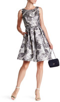 Nicole Miller Metallic Brocade Fit & Flare Dress