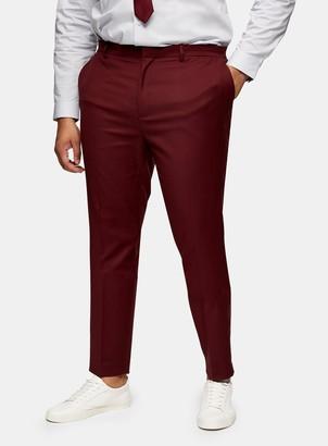 Topman BIG & TALL Burgundy Skinny Fit Suit Trousers