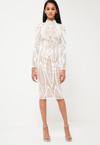 Missguided White Lace High Neck Midi Dress