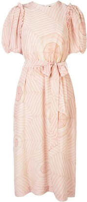 Simone Rocha Tie Waist Bell Sleeve Dress