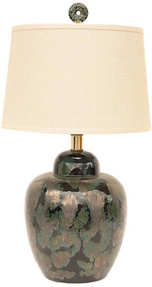 One Kings Lane Vintage Black & Verdigris Ceramic Table Lamp - Pythagoras Place