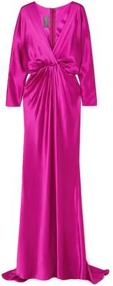 Monique Lhuillier Draped Silk-charmeuse Gown