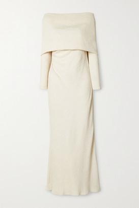Johanna Ortiz Net Sustain The Real Truth Draped Crinkled-crepe Maxi Dress - Ecru