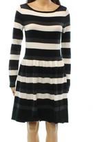 Vince Camuto Black White Women's Medium M Striped Sweater Dress