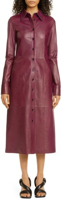 Proenza Schouler Lightweight Leather Long Sleeve Midi Dress