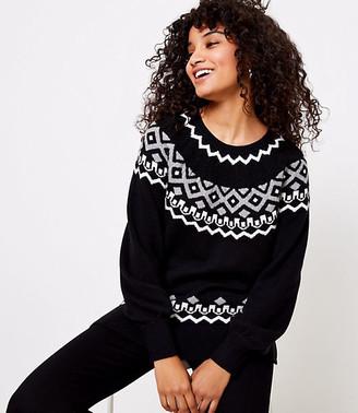 LOFT Petite Cable Fair Isle Sweater