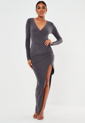 Missguided Gray Slinky Ruched Wrap Maxi Dress