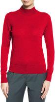 Theory Sallie Refine Merino Wool Mock-Neck Sweater, Dark Vermillion