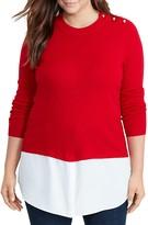 Lauren Ralph Lauren Plus Button Shoulder Mixed Media Sweater