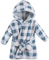 Hudson Baby Blue Plaid Hooded Fleece Robe - Infant