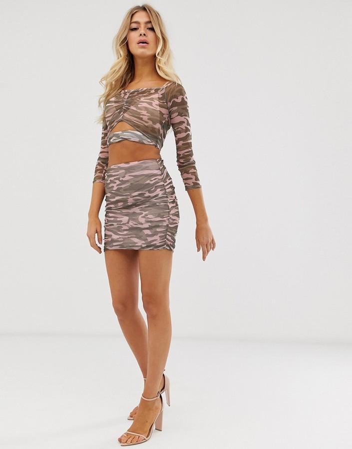 ASOS DESIGN camo mesh mini skirt co-ord