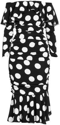 Dolce & Gabbana Stretch Silk Polka-Dot Midi Trumpet Dress