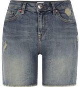 River Island Womens Mid blue distressed denim boyfriend shorts