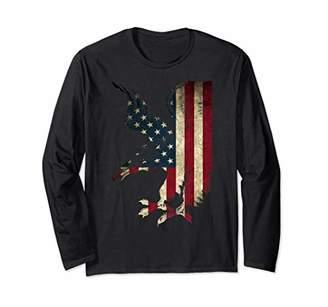 American Patriot Freedom Bald Eagle USA Flag Streetwear Long Sleeve T-Shirt