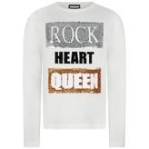 Relish RelishGirls Ivory Sequin Rock Heart Queen Top