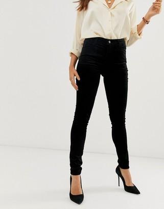 J Brand Maria high rise velvet skinny jeans-Black