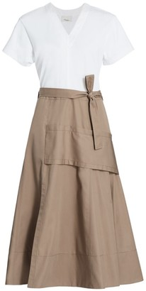 3.1 Phillip Lim Mixed Media Utility Midi Dress