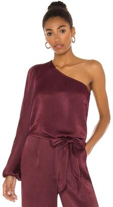 Bobi BLACK Sleek Textured Woven One Shoulder Top