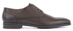 HUGO BOSS Italian Made Derby Shoes In Woven Embossed Calf Leather - Dark Brown