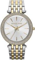 Michael Kors Darci Two Tone Stainless Steel Glitz 3 Hand Bracelet Watch