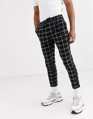 Topman skinny smart trousers with chain in black & yellow check