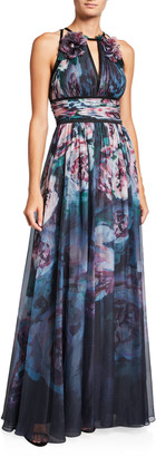 Marchesa Watercolor Sleeveless Chiffon Gown with Satin Trim & Keyhole