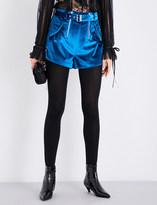 Self-Portrait Belt-detail mid-rise velvet shorts