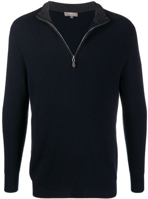 N.Peal Ribbed Half-Zip Cashmere Jumper