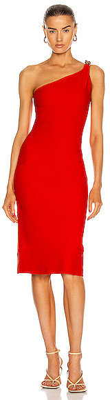 Thumbnail for your product : Givenchy One Shoulder Spiral Chain Dress in Red