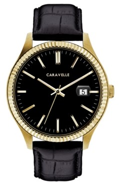 Caravelle Designed by Bulova Men's Black Leather Strap Watch 41mm